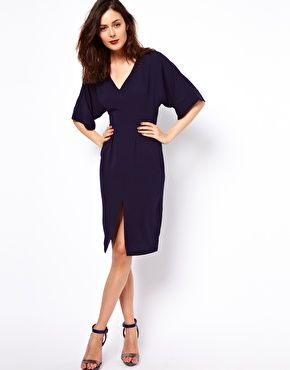Enlarge ASOS Pencil Dress With V Neck And Batwing Sleeves