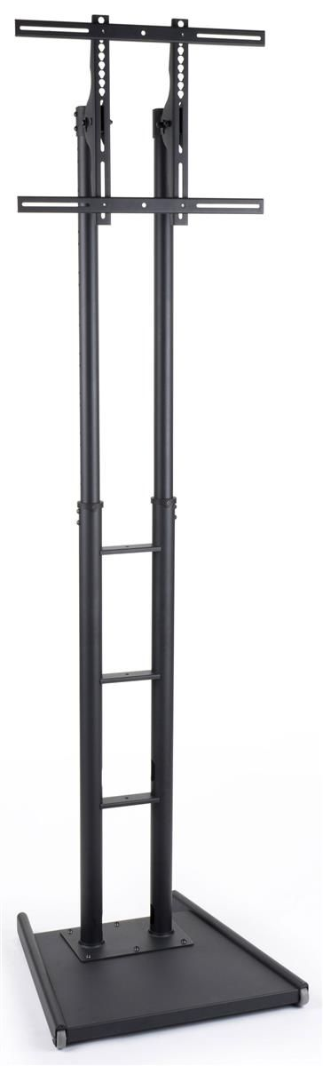 """Extra Tall TV Stand 93"""" tall w/ Mount for Screens 32"""" to 84""""+, Weighted Base w/ Wheels - Black"""