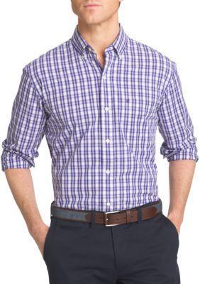 Izod Men's Advantage Stretch Tattersall Shirt - Prism Violet - L