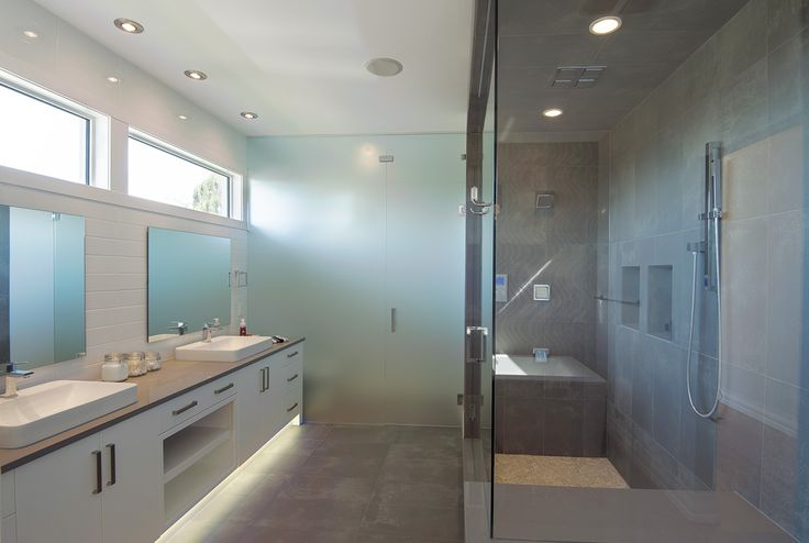 O2 Developments- Modern inner city infill- Master ensuite with frosted glass water closet