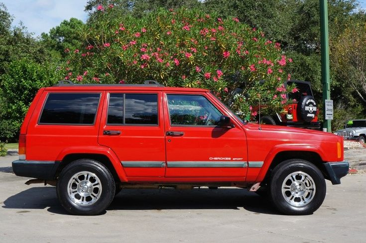 1999 Red Jeep Cherokee Sport - $4,995 - 4.0L Inline 6 Cylinder,  176k Miles, Nice Wheels, Details---> http://www.selectjeeps.com/inventory/view/8719298/1999-Jeep-Cherokee-4dr-Sport-League-City-TX