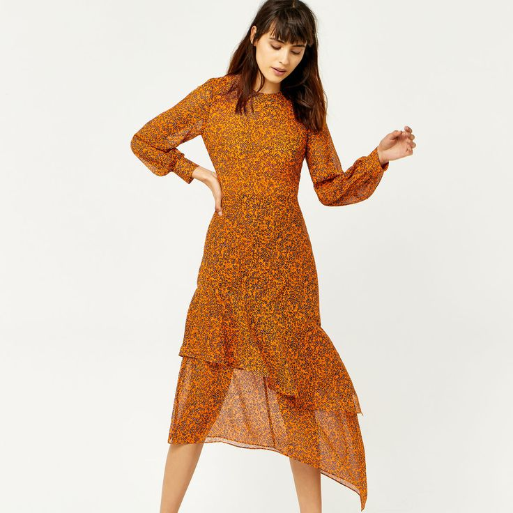 Warehouse, KYOTO FLORAL SILK MIDI DRESS Orange 1