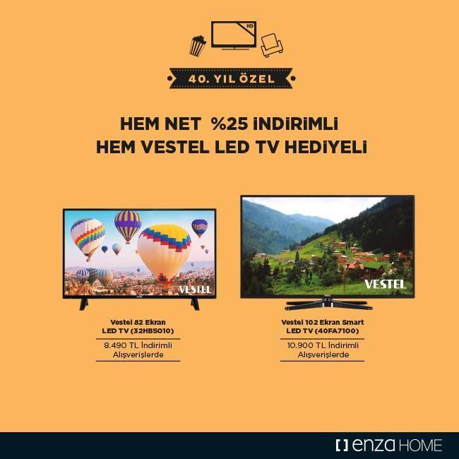 Enza Home, Yataş'ın 40. yıl kutlamalarına devam ediyor!  Tüm mobilya ve halı alışverişleri net % 25 indirimli.  Ayrıca 8.490 TL indirimli alışverişlerde 999 TL değerinde Vestel 82 Ekran LED TV (32HB5010), 10.900 TL indirimli alışverişlerde ise 1.499 TL değerinde Vestel 102 Ekran Smart LED TV (40FA7100) hediye fırsatları sizi bekliyor.