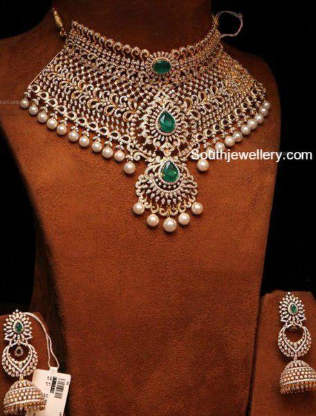 Bridal Diamond Choker and Jhumkas Set
