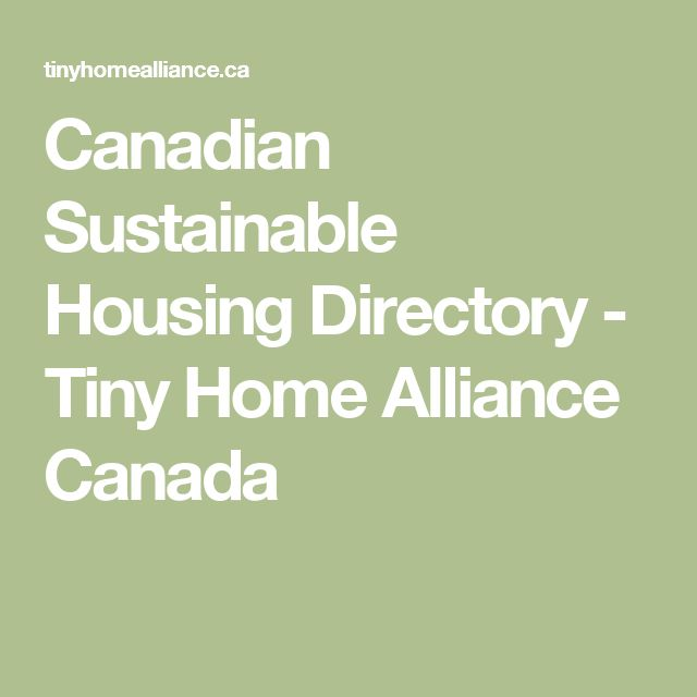 Canadian Sustainable Housing Directory - Tiny Home Alliance Canada