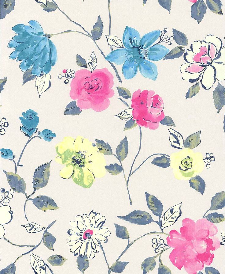Bold Floral Teal wallpaper by Galerie