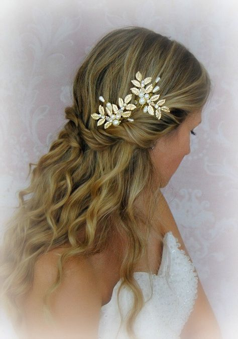Gold Leaves Hair Pins, Wedding Hair Pins with Pearls, Crystals, Fern Leaf, Greek Goddess, Bobbies, Boho Pin Set - CALISTA by TheRedMagnolia on Etsy https://www.etsy.com/listing/248463706/gold-leaves-hair-pins-wedding-hair-pins