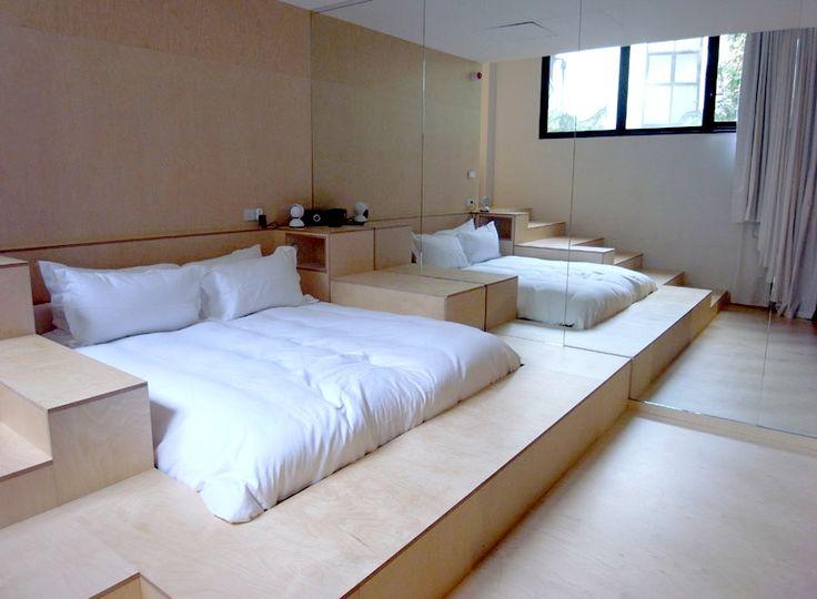 """A sunken bed. Part of the """"Maison Champs Elysées Paris"""" by Martin Margiela"""
