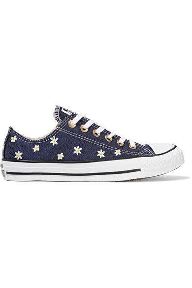 Converse - Chuck Taylor All Star Embroidered Denim Sneakers - Dark denim - UK3