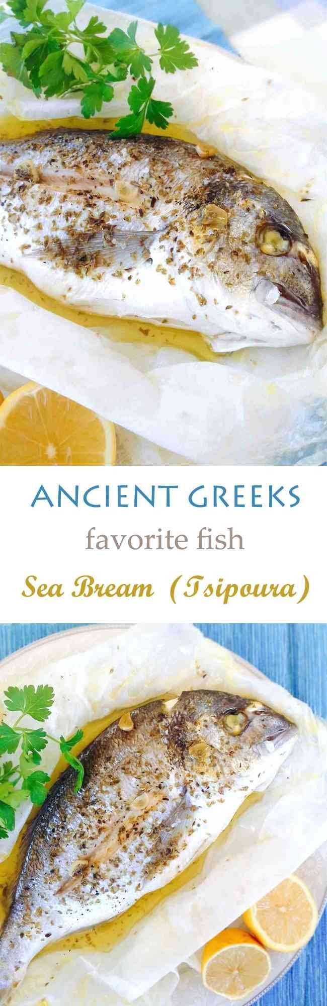 Back in ancient times, Greeks devoted this fish to the goddess Aphrodite for its impeccable taste and attractive looks. Even today, Sea Bream is still considered one of the most delectable fish. It contains a good amount of Ω-mega-3 fat that's so good for the heart. This recipes wraps up the fish so no flavor or aroma gets lost. Cooked with olive oil, lemon and garlic. Your heart will definitely thank you for this meal! #seafood, #fish, #maindish, #healthy, #lowcalorie, #Mediterranean,