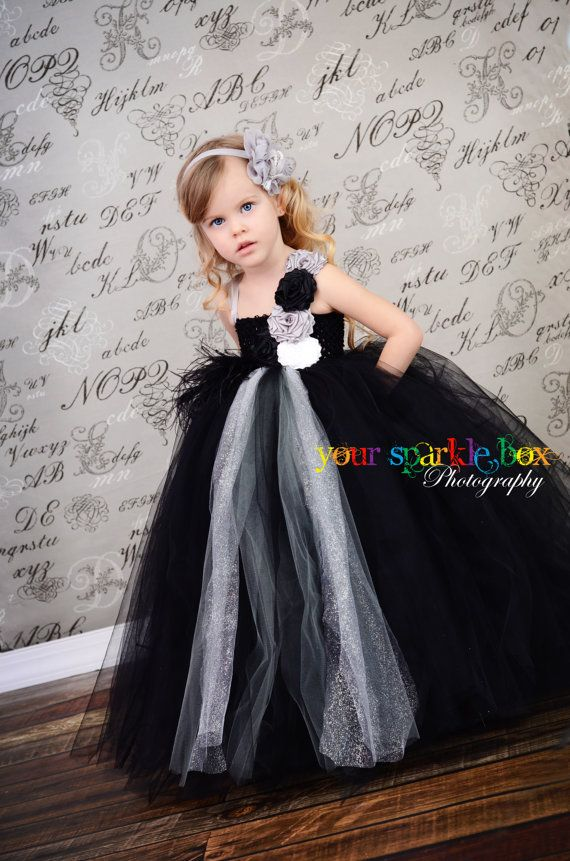 Black Silver Gray White glitter tutu dress by YourSparkleBox, could maybe even make these..