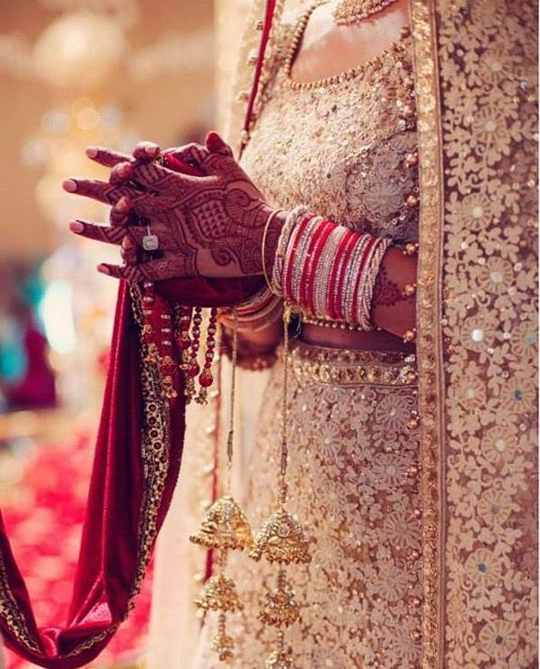 Gold + white bridal lengha