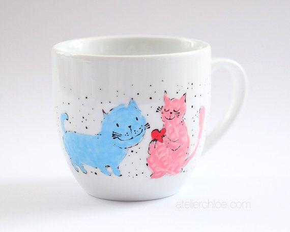 Funny coffee mug hand painted cat mug cat coffee by atelierChloe