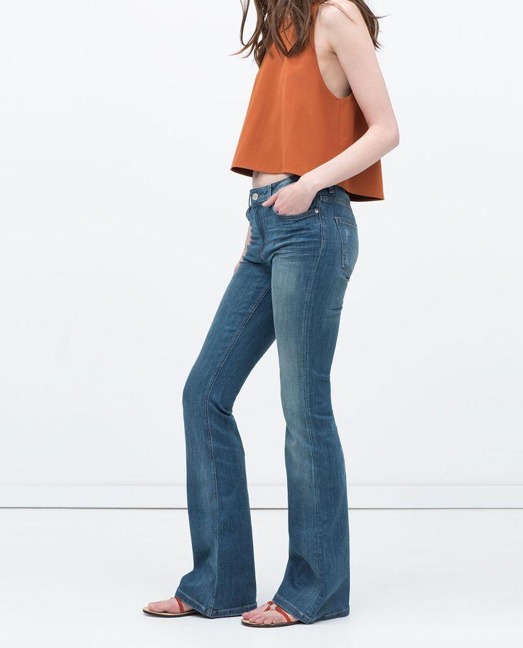 zara femme pantalon en denim coupe flare
