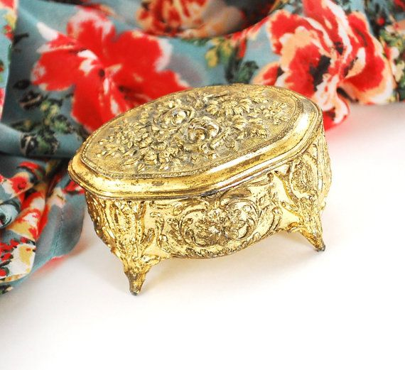 Vintage Jewelry Box Gold Jewelry Box Small Jewelry Box Repousse Rose Jewelry Box  sc 1 st  Pinterest & 96 best these are a few of my favorite things images on Pinterest ... Aboutintivar.Com
