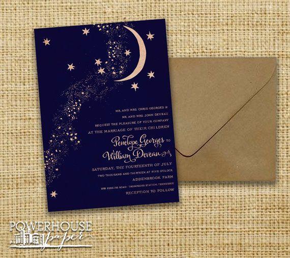 イメージが一番ちかい 月無し ★を大きく一つ まわりラメ 返信封筒可愛く Rustic Kraft Moon & Stars Wedding Invitation by PowerhousePaper, $4.25