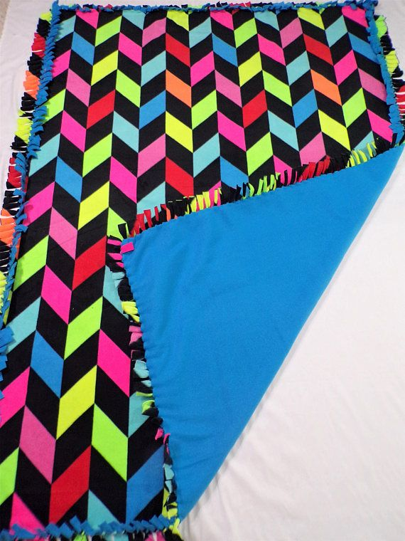 Neon Home Decor  Multicolored Blanket  Neon Bedding  Neon
