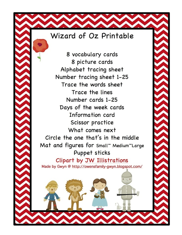 This is an image of Nerdy Wizard of Oz Printables Free