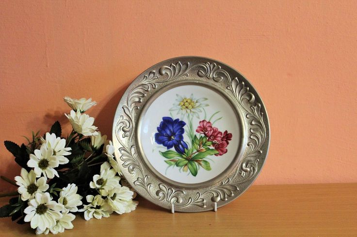 Vintage Rein Zinn BMF Creidlitz Germany Porcelain Plate in Pewter Frame, Wall Hanging Plate, Floral Wall Hanging Plate by Grandchildattic on Etsy