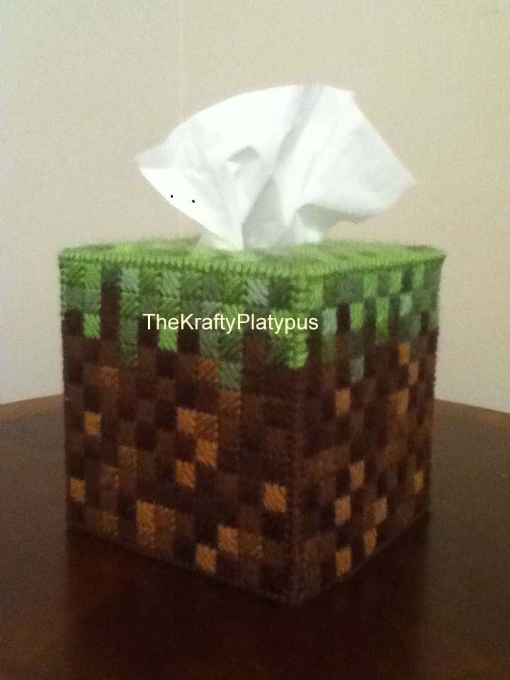 This is a custom handmade tissue box cover.  This is an original design inspired by the grass blocks of a popular computer game. by TheKraftyPlatypus on Etsy https://www.etsy.com/listing/225211960/this-is-a-custom-handmade-tissue-box