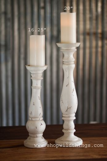 """tall & short white candle stick holders   Shabby Chic Pillar Candle Holder - Antiqued Cream - 5.5"""" x 20"""" Tall"""