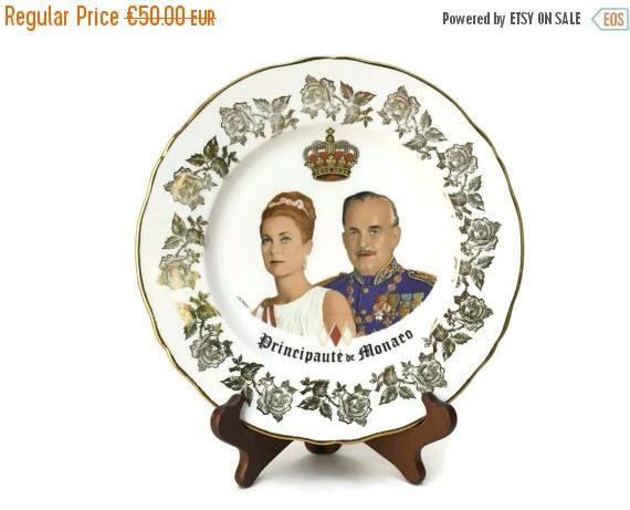 30% OFF Princess Grace Kelly Monaco Souvenir Plate. Vintage French Porcelain Wall Plate. Royal Memorabilia.