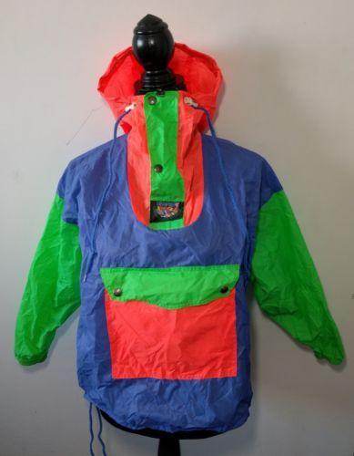 Vintage K-Way Neon Colorblock Windbreaker Jacket Size 4 Nylon Bright Color