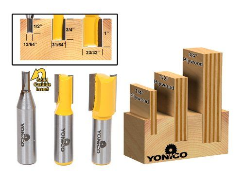 Yonico 14323 3 Plywood Dado Router Bits for 3/4-Inch 1/2-Inch and 1/4-Inch Plywood 1/2-Inch Shank - -