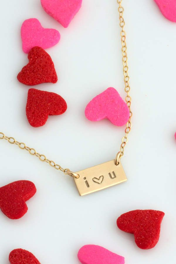 Etsy Valentine's Gift, Mini Bar Necklace, Valentine's Day Gift for her, Gift for Wife, Personalized Bar Necklace #afflink #valentinesday #valentinesdaygiftideas