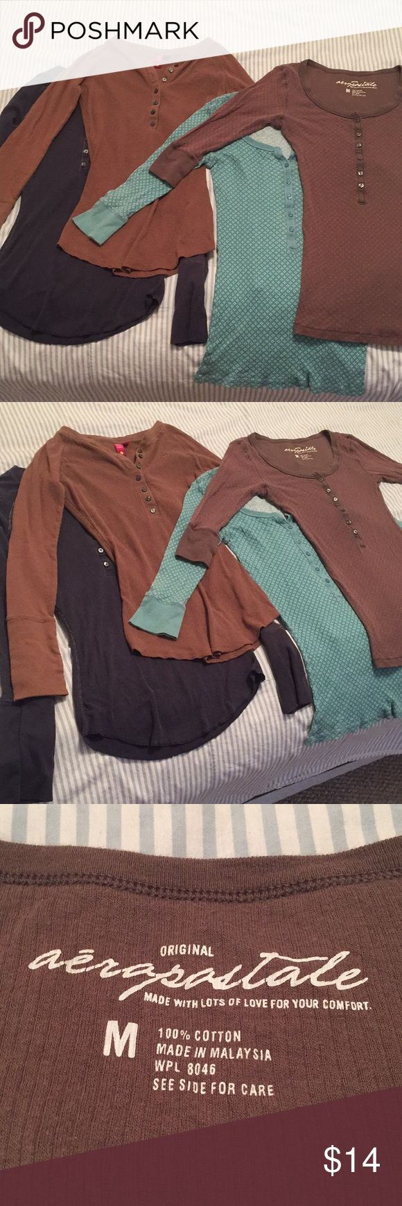 BUNDLE 🌸 4 Juniors Long Sleeve Soft Cotton Tops Two from Aeropostale in a light blue with white floral pattern and a brown with the same red floral pattern, and two from SO both plain in navy blue and brown, all four in juniors size medium. Excellent condition, extremely soft long sleeve shirts perfect for going back to school after winter break.   All bundles of 2+ items are automatically discounted by 20%. Offers welcome! Thank you for shopping from my closet ☺️ Aeropostale Tops Tees…