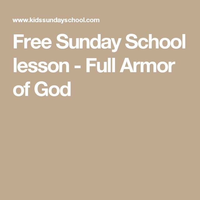 Free Sunday School lesson - Full Armor of God