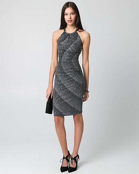 Sparkle Knit Halter Cocktail Dress - Elevate your eveningwear with a shimmering sparkle knit cocktail dress topped with a striking halter neckline.