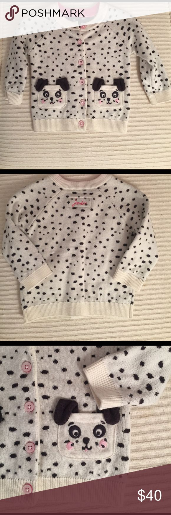 Joules NWOT puppy cardigan sweater Adorable NWOT cardigan sweater.  Cream with black polka dots, puppy detail on pockets and pink buttons.  So cute!!! Joules Shirts & Tops Sweaters