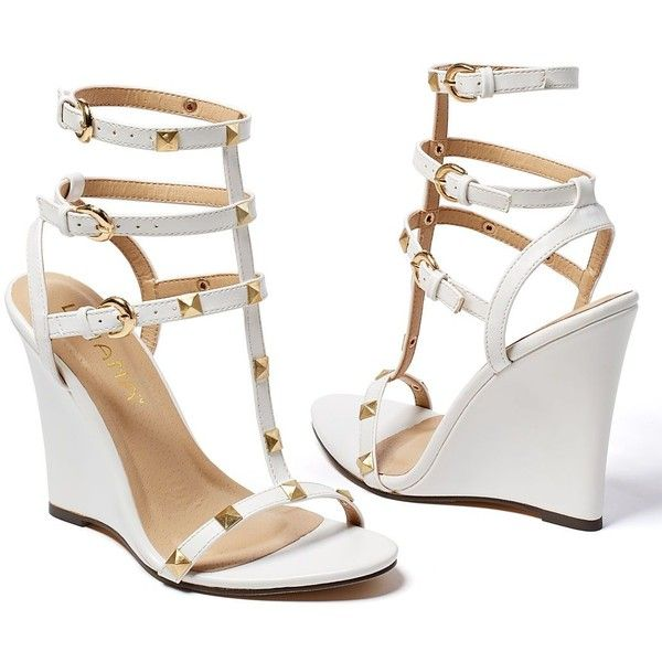 Venus Women's Studded Gladiator Wedge ($30) ❤ liked on Polyvore featuring shoes, white, high heeled footwear, white shoes, white wedge heel shoes, wedges shoes and white wedge shoes