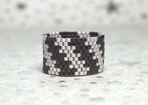 PEYOTE RING Cloudy Night by PeyoteRings on Etsy