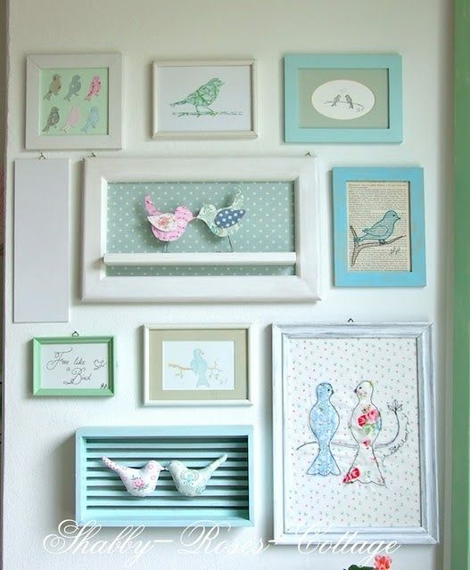 Bird cluster wall. I have always wanted a bird theme nursery for a girl.
