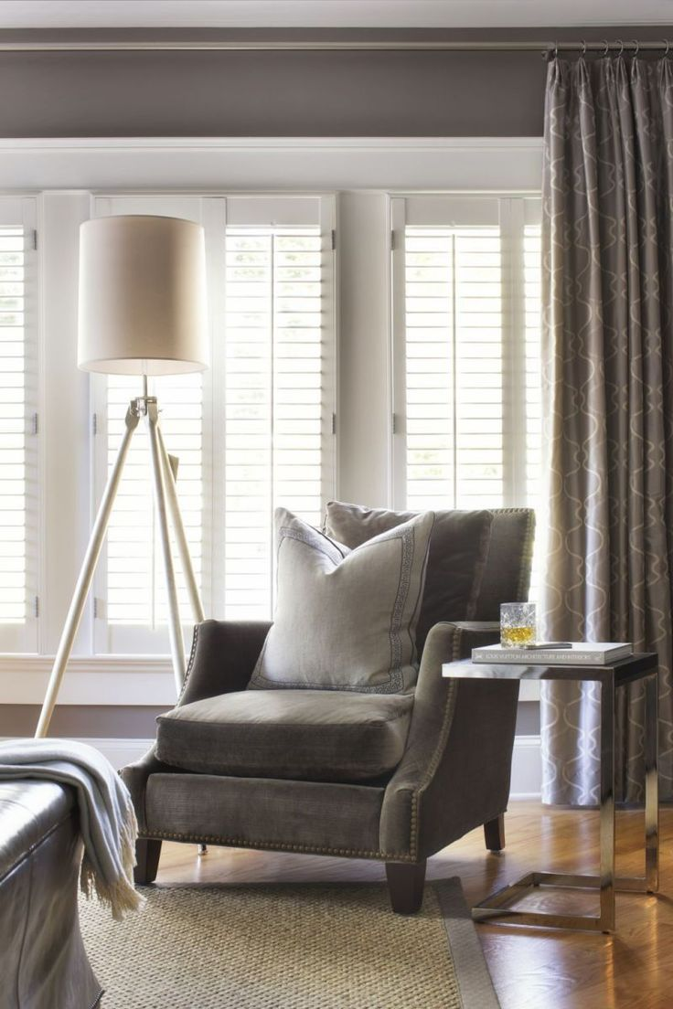 Traci Rhoads interiors  love the shutters and chair