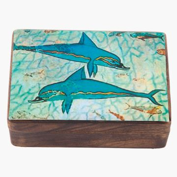 The Dolphins, are a detail from the famous 6 metre fresco of a procession or escort of ships at the Akrotiri on Santorini island. Dimensions: 15 x 10 x 6 cm.