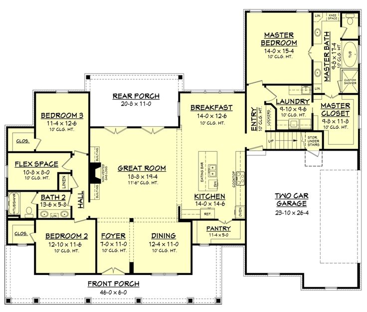 Farmhouse Style House Plan - 3 Beds 2 Baths 2469 Sq/Ft Plan #430-147 Floor Plan - Main Floor Plan - Houseplans.com