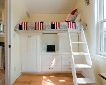 Built in loft bed for kids. Would work for boy or girl's room. Great idea for small spaces. Look how tiny the footprint is for this room, but there's a desk, closet, drawers, a cabinet, AND room to do kids stuff on the floor!