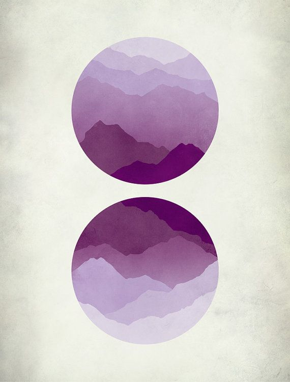 Mid century modern minimal art print of purple mountains inspired by Japanese woodblock prints. Lavender, purples and violets.  SIZE: 8.5x11 (1/4 inch