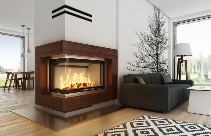 Eleganckie #kominki nowoczesne - aranżacja na bazie wkładu Volcano 2BLTh - #Hajduk #fireplaces #fireplace #interior #design #wood #scandinavian #concept #architecture #kominek #salon #living #room