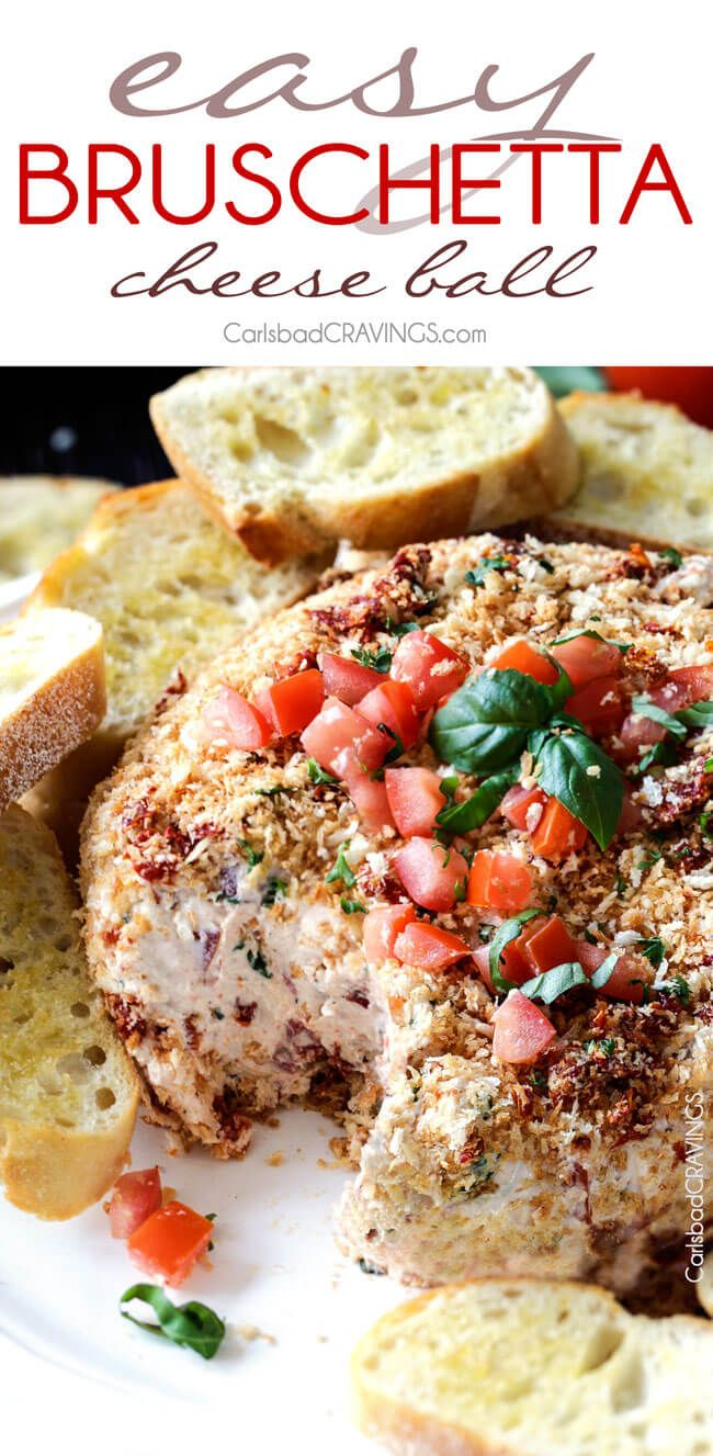 Super easy (make ahead!) Bruschetta Cheese Ball takes just minutes to whip up and is always a total show stopping appetizer! Loaded with fresh tomatoes, sun-dried tomatoes, fresh basil, Parmesan, mozzarella and garlic and herb cheese then rolled in crispy panko breadcrumbs all served with toasted baguette slices = irresistibly delicious!