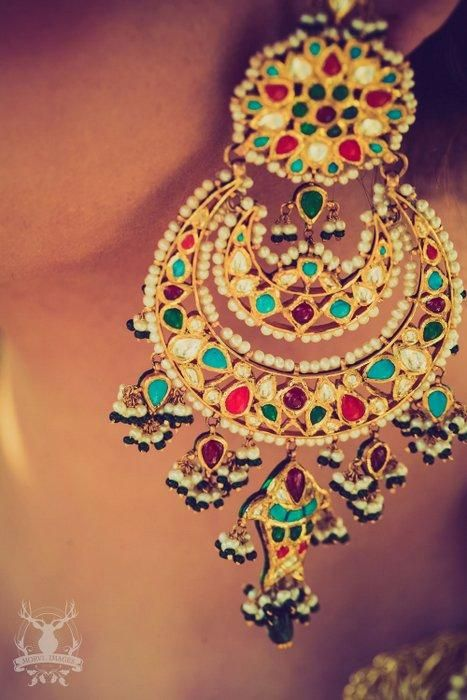Indian Wedding Jewelry - Earrings with meenakari work in chand baali shape | WedMeGood