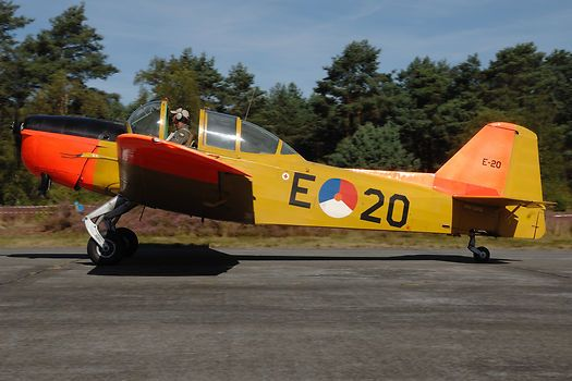 A Fokker S-11 Instructor in Royal Netherlands Air Force colours on the taxiway.