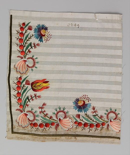Embroidery sample for a man's waistcoat This artwork is part of Elaborate Embroidery: Fabrics for Menswear before 1815  http://www.metmuseum.org