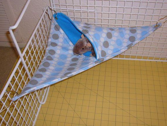 """Corner Pocket Hammock  """"Blue Polka Dot Print with Aqua Blue Fleece Lining"""" Rat, Ferret, Sugar Glider. $9.99, via Etsy."""