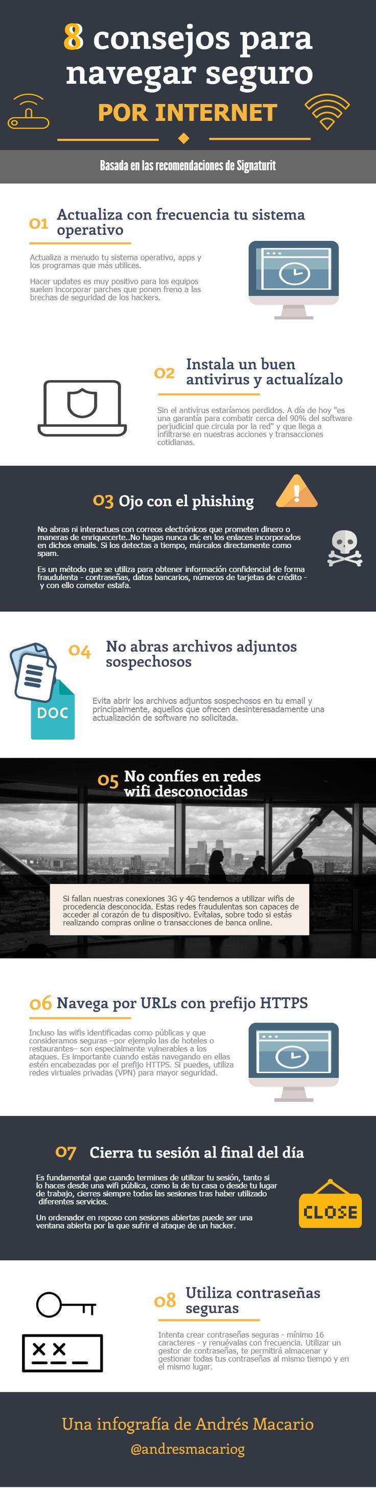 8 consejos para navegar seguro por Internet #infografia
