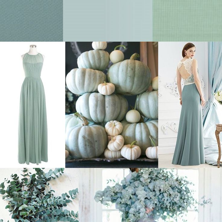 Dusty Shale, Morning Mist / Icelandic, Grayed Jade -- JCrew, Dessy -- eucalyptus, blue pumpkins