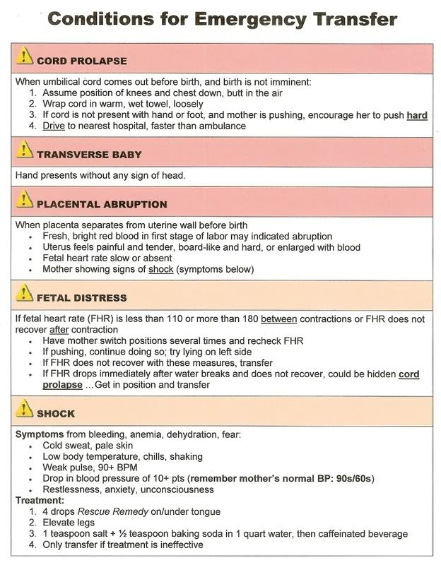Birth Cheat Sheet-Emergency